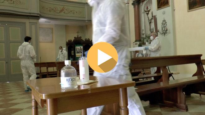 La sanificazione della Chiesa della Parrocchia di Prà d'Este